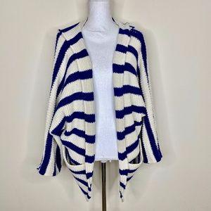 ASTARS Wide Stripe Open Front Sweater Hooded Navy